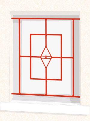 Grille de fenêtre en fer forgé Plume