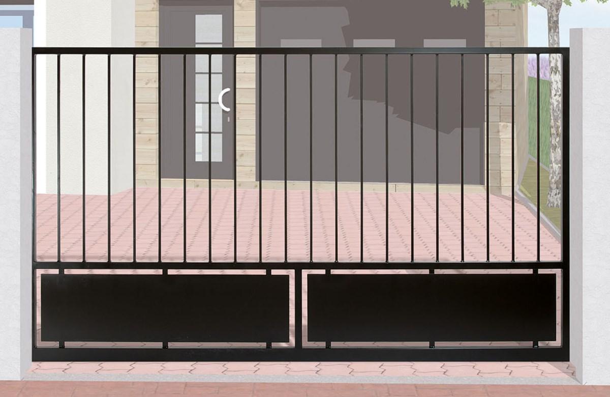 portail en fer forg coulissant cl mentine leferronnier. Black Bedroom Furniture Sets. Home Design Ideas