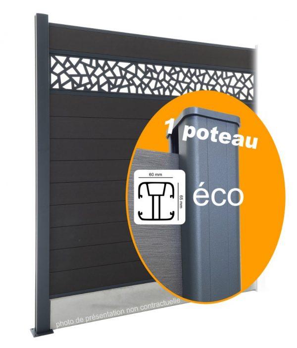 Composite Éco : Kit intermédiaire 1 poteau pour Clôture 180cm
